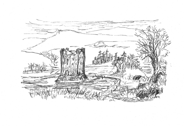 Castle Derisaig, isolated on a rock - excerpt from Princelings of the North