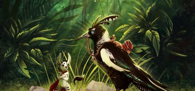 Adventurers a silver fox-rabbit and a crested magpie with saddle in a forest clearing