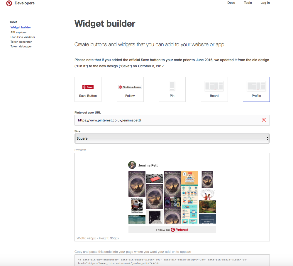 Pinterest widget builder page